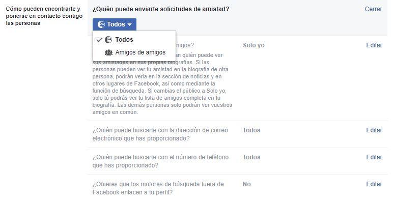 Quién puede enviar solicitudes de amistad en Facebook