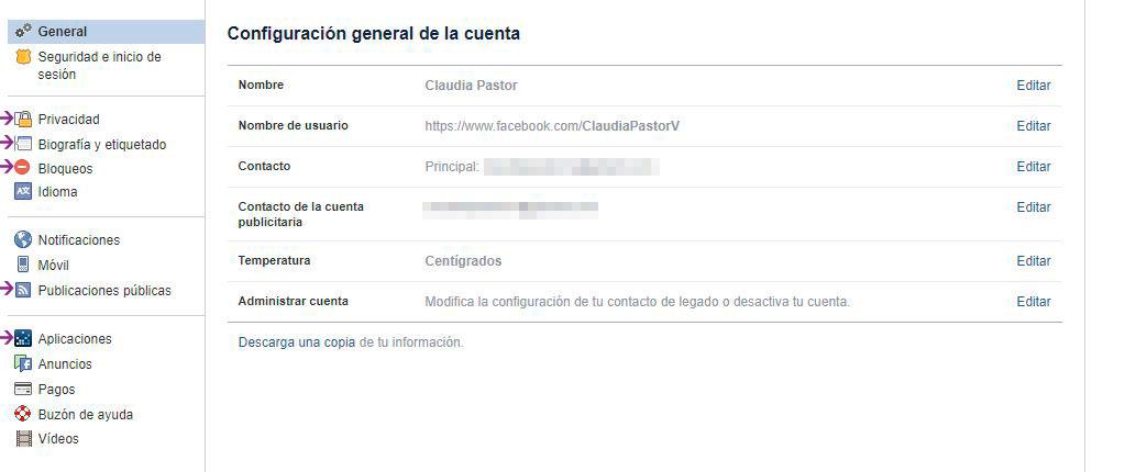 Configuración en Facebook