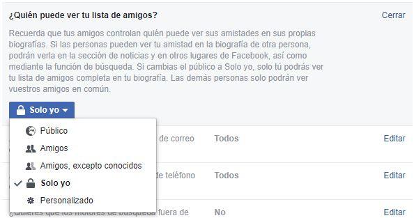 Privacidad de la lista de amigos en Facebook