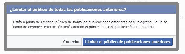 Limitación de público en publicaciones anteriores de Facebook