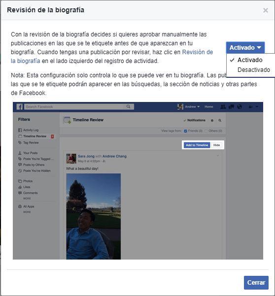 Revisión de biografía en Facebook