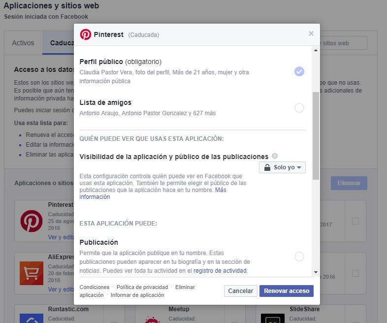Dar acceso aplicaciones caducadas de Facebook | Privacidad en Facebook