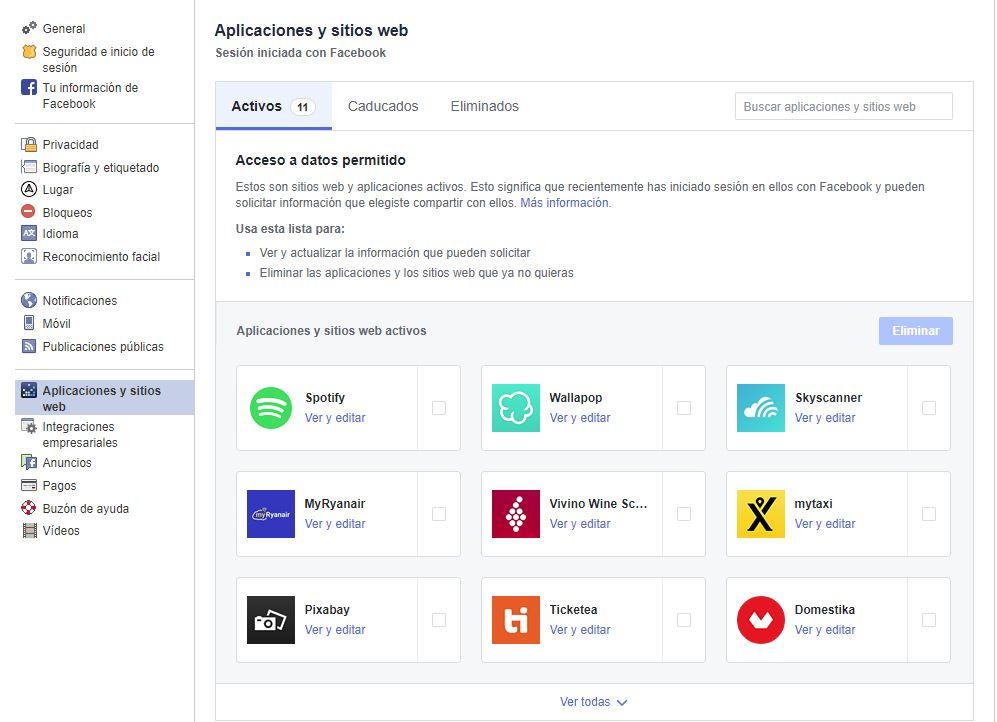 Aplicaciones activas en Facebook | Privacidad en Facebook
